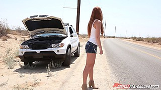 Mechanic with a big cock fucking perfect redhead Farrah Flower