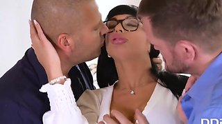 In The Office Busty Brunette Enjoys Double Penetration with Thomas Stone, Valentina Ricci and Ian Scott