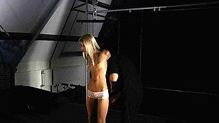 Very skinny slave hard tormented and masturbated