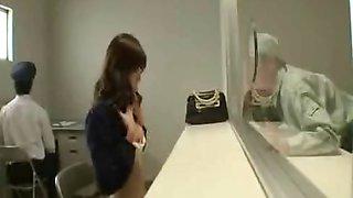 Japanese girl strips nude in prisoner visiting room