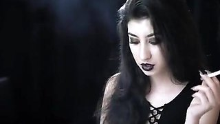 seductive erotic shy submissive smoking goth girl