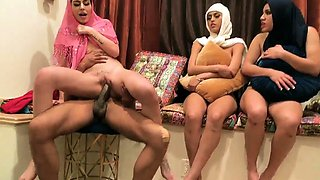 College party girls Hot arab women attempt foursome