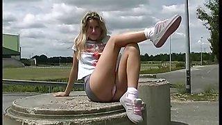 blond teen  Jessica upskirt