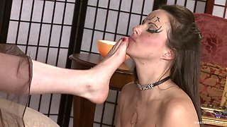 Dirty slut drops on her hands and knees to be used and abused