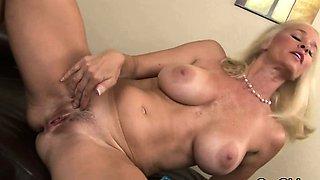 blonde girl crying after intense orgasm