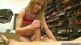 Petite blonde Kelly Klass gives hendjob to her boy