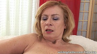 Blonde and brunette grannies play with sex toys