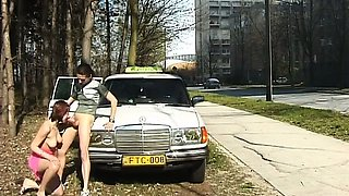 Nasty lady in full action outdoor at my taxi car