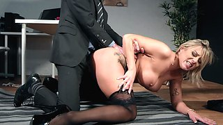 New office girl seduces her huge cock boss for a good fuck