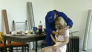 Cute and naughty pale skin blondie is easily seduced