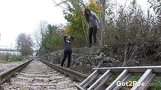 Naughty Girls Piss Near The Railway