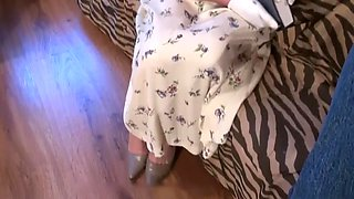 FULLBACK PANTIES - PANTY FUCK - CHURCH LADY IN FLORAL DRESS FUCKED