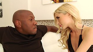 Skinny blonde works monster black cock with ease