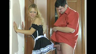 Teen Russian maid screwed in pantyhose