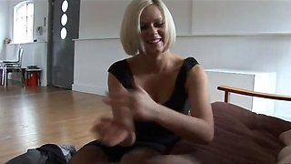 Amazing blonde slaps  strokes a cock