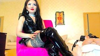 Dominant Asian beauty in latex flaunts her body on webcam