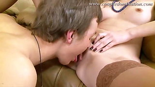 CoupleDomination - Slave gets straponed while sucking thick