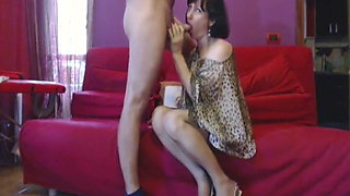 Crossdresser make blowjob