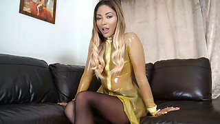 Instructed to jerk off by cruel natalia forrest: humiliating her new reluctant latex sissy maid