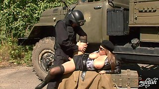 Dominno Big Breasty Babe Outdoor Uniform Sex