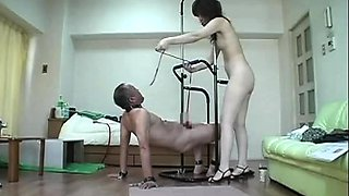 Wild Japanese mistress teases and pleases her kinky slave