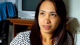 Stunning brunette nipponese woman Caren cannot get enough