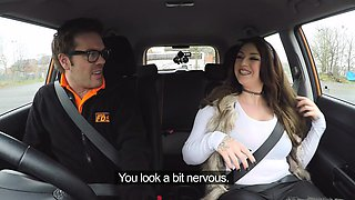 Fake Driving School Instructor gets titty wank
