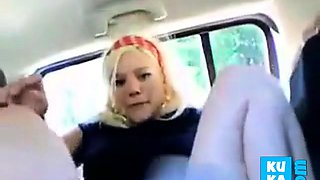 Norwegian blonde masturbating in her car