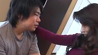 Old and horny Asian mom sucking big dick in bathroom
