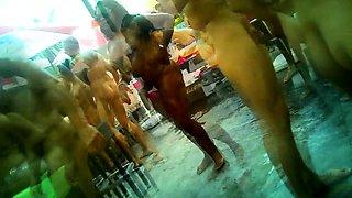 Voyeur finds stunning mature babes enjoying a nudist party