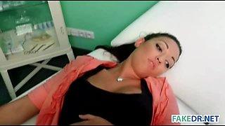 Brunette babe in fake hospital