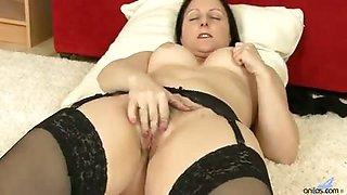 Mom next door shows off her plump booty in lace panties