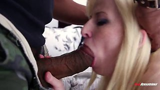 lecherous blonde babe takes a big cock up her wet pussy after giving a blowjob