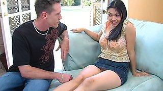 Big bottomed romantic brunette Mika Tan loves when dude fucks her doggy