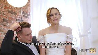 HUNT4K. Cute teen bride gets fucked for cash in front of her groom