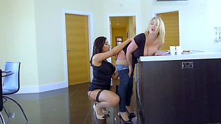 Two gorgeous ladies are having fun with a dude in the bedroom