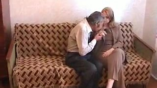chubby blonde drilled by old man