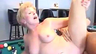Hot Granny Cougar Pool Table Bang