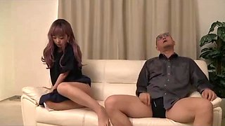 Japanese girl banged by a big dick dad