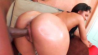 Hairy brunette Sabrina rides a huge black dick wildly