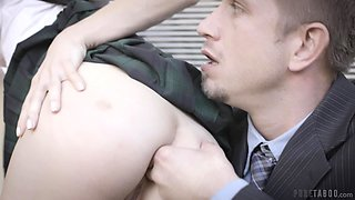 Ginger coed Lola Fae is finger fucked in public by married lover