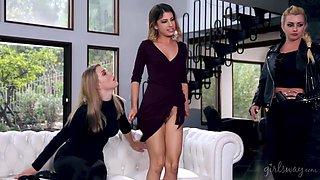 Criminal lesbians Lexi Belle, Kristen Scott and Giselle Palmer enjoy threesome sex