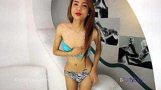 Skinny super cute Filipina Ladyboy wank and cum on her Belly