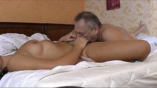 Old man daddy fucking daughter after holiday