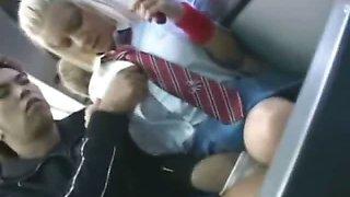 White Schoolgirl in Japan Bus!