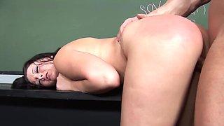 Teacher collars and fucks his submissive curvy student