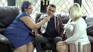 Two grannies show him how the sex is done
