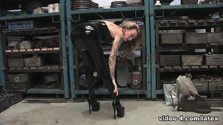 Becky Holt in Trans Black Dress and Stockings - LatexHeavenVideo