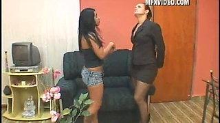 Brazilian Tentant Fist Fucks Her Landlady's Cunt