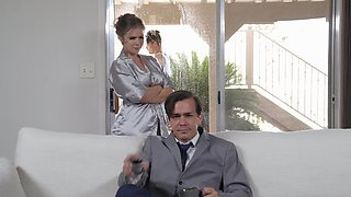 Lena Paul flashes boobs to her neighbor and he comes to get her pussy